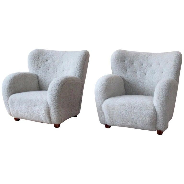 Pair of Scandinavian Modern Sheepskin Armchairs, Finland, 1950s