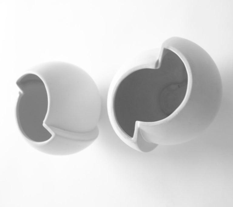 Molded Pair of Scandinavian Modern Stoneware Vase Model Surrea Designed by Wilhelm Kåge For Sale