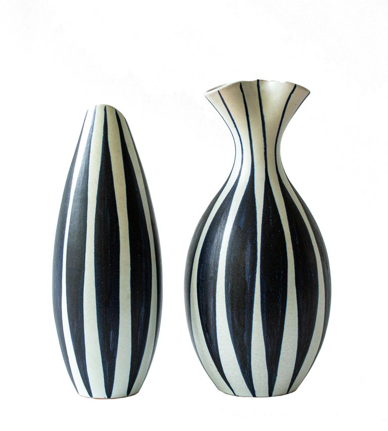 Swedish Pair of Scandinavian Modern Striped Vases by Mette Doller for Hoganas, 'Höganäs' For Sale