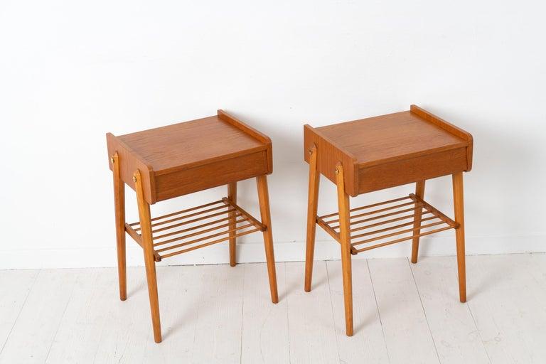 Pair of Scandinavian Modern Teak Nightstands For Sale 2