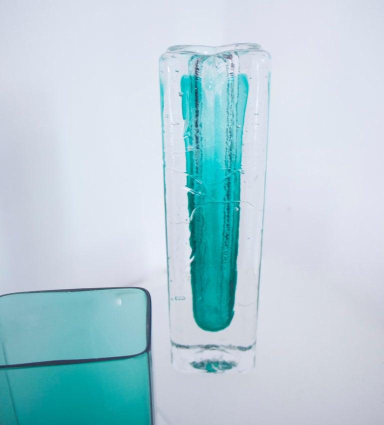 Finnish Pair of Scandinavian Modernist Glass Pillar Vases by Nuutajarvi Notsjõ For Sale