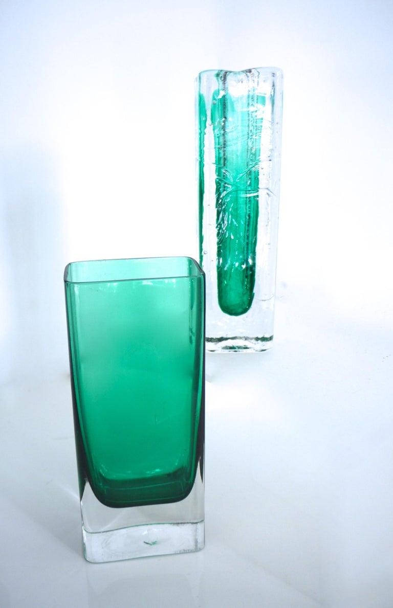 Pair of Scandinavian Modernist Glass Pillar Vases by Nuutajarvi Notsjõ For Sale 1