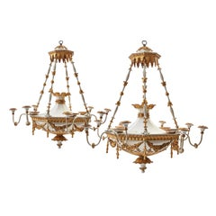 Pair of Scandinavian Neoclassical Gilt and Painted Chandeliers, circa 1810