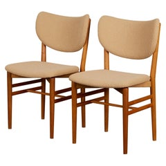 Pair of Scandinavian Oak and Teak Side Chairs with Bouclé Upholstery