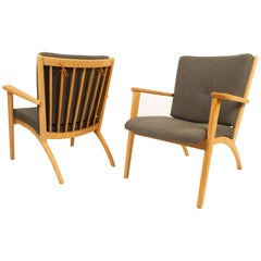 Pair of Scandinavian Oak Lounge Chairs, 1990s