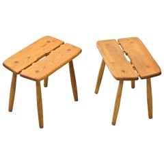 Pair of Scandinavian Oak Stools by Carl Gustaf Boulogner, Sweden