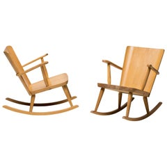 Pair of Scandinavian Pine Rocking Chairs