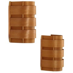 Pair of Scandinavian Sconces V155 in Pine and Copper by Hans-Agne Jakobsson