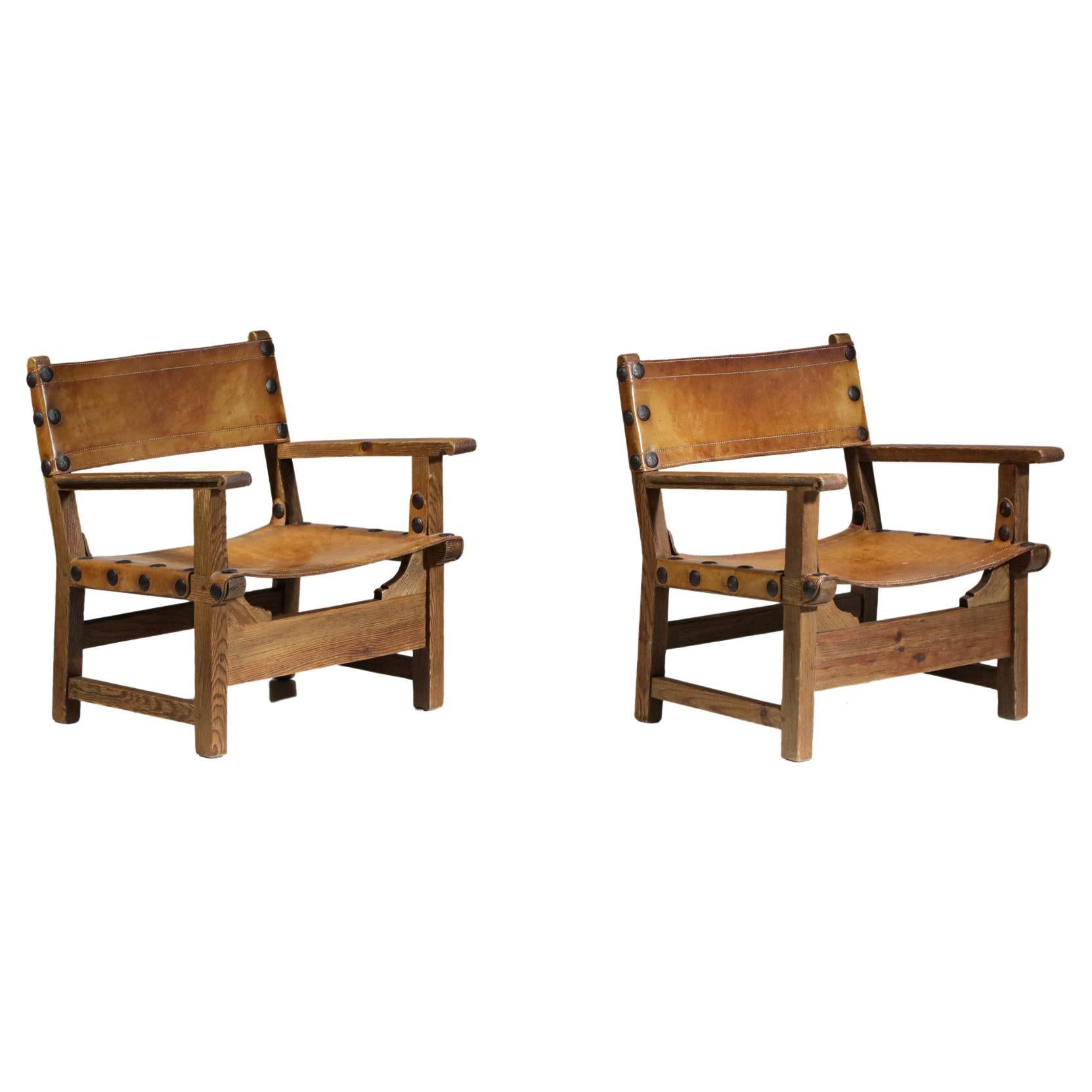 "Pair of Scandinavian Solid Wood ""Safari"" Style Armchairs, Vintage Design"