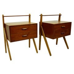 Pair of Scandinavian Teak Nightstands by Sigfred Omann for Olholm Denmark