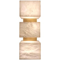 Pair of Scatola Wall Sconce, Alabaster Cubes, Brushed Patinated Brass
