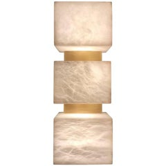 Pair of Scatola Wall Sconce, Alabaster Cubes, Brushed Patinated Brass 'US Spec'