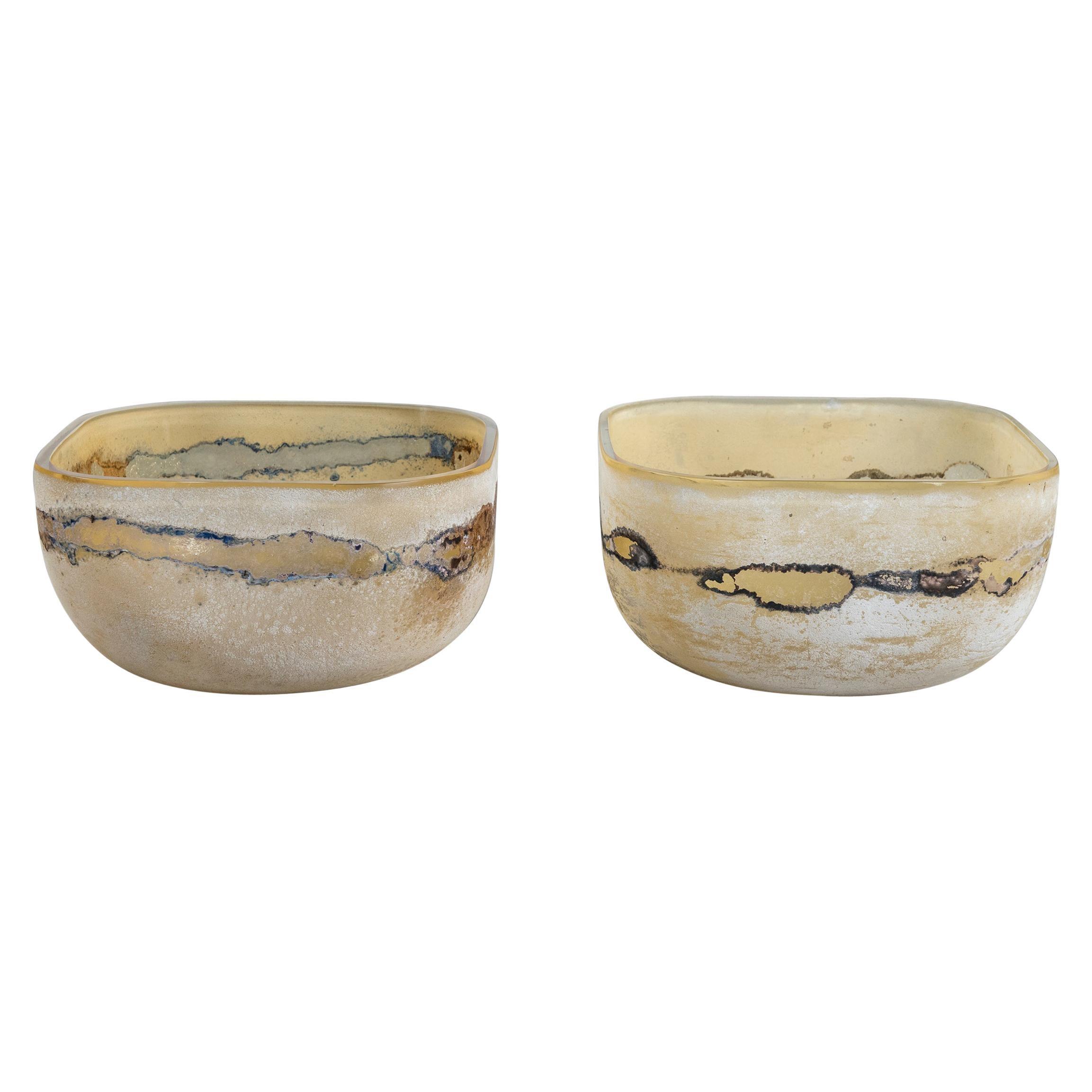 Pair of Scavo Glass Bowls Signed Barbini Murano, Italy, circa 1960