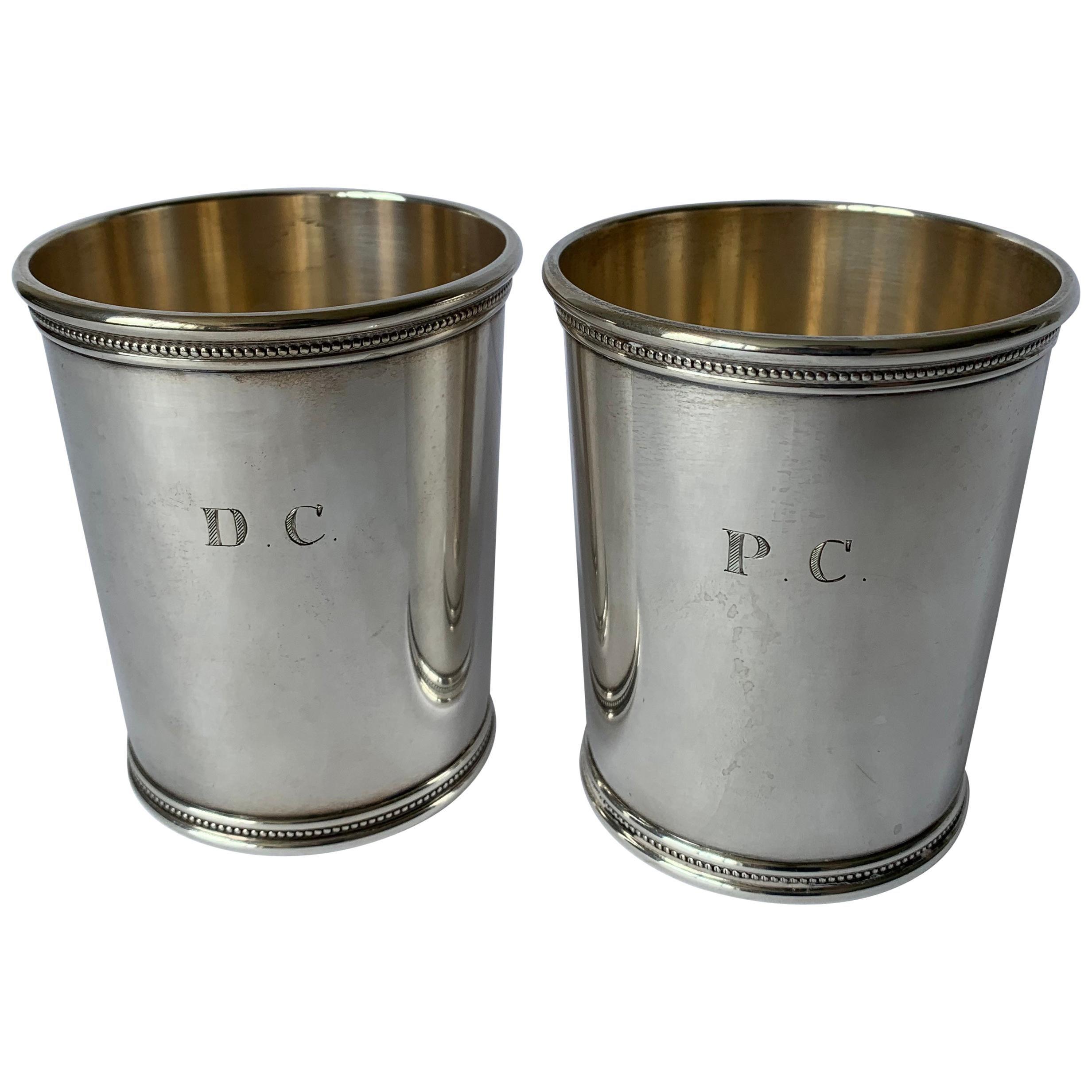 Pair Mark J. Scearce LBJ Sterling Silver Julep Cups