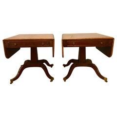 Pair of Schmieg & Kotzian Georgian Style Drop-Leaf Sofa, Card or Side Tables