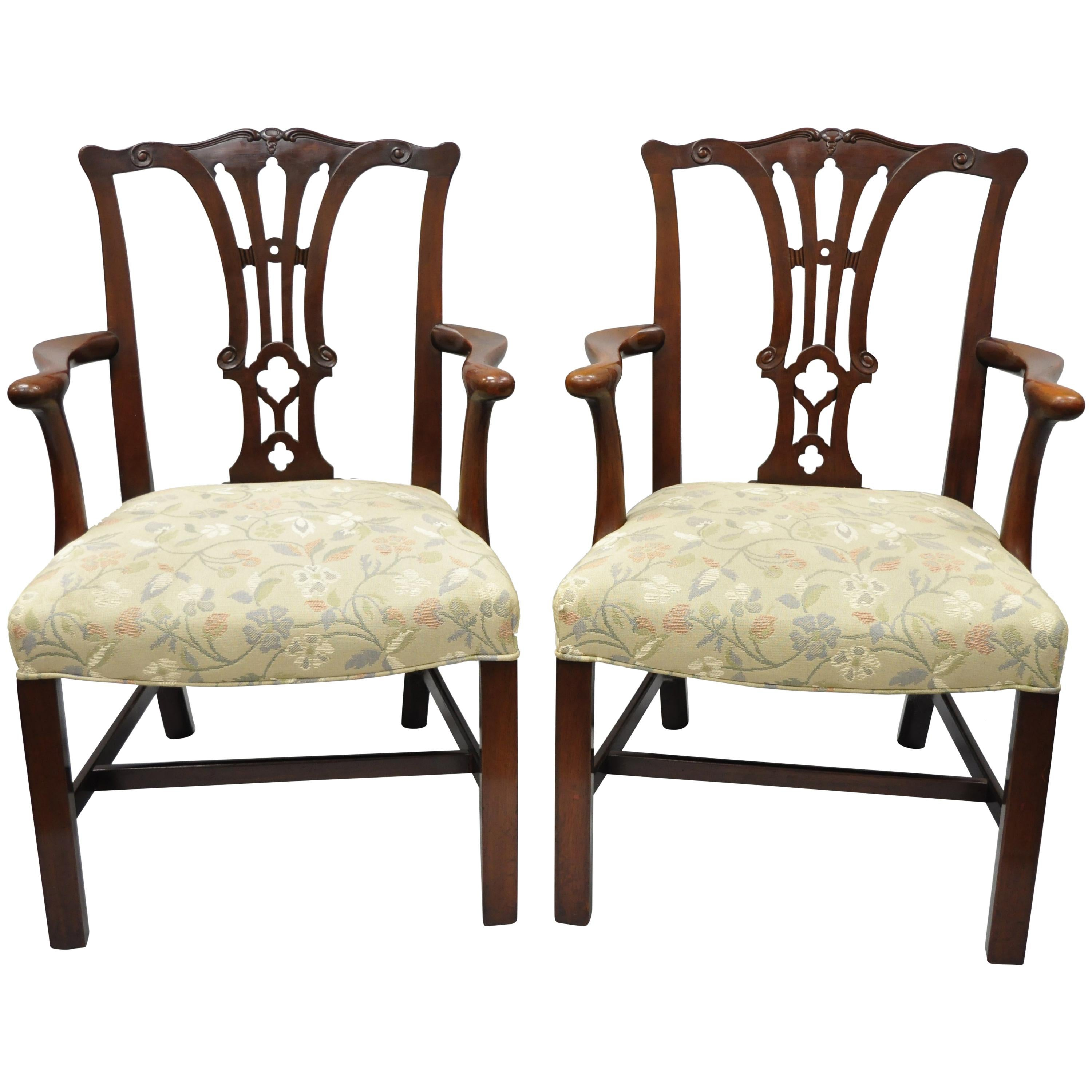 Pair Of Schmieg U0026 Kotzian Mahogany Chippendale Style Dining Chairs Armchairs