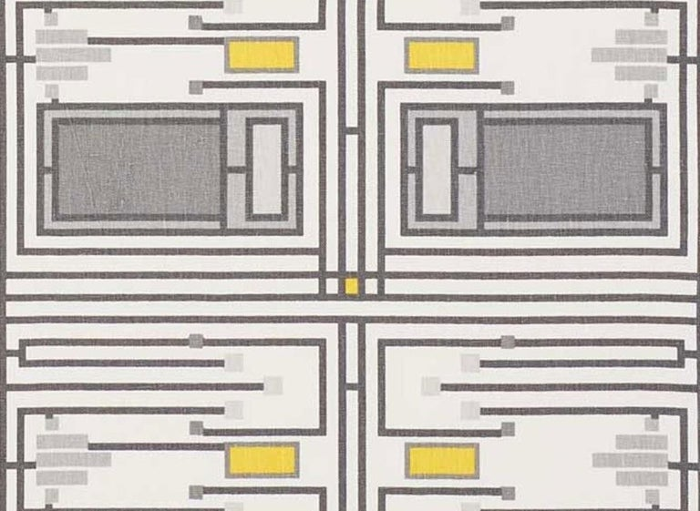 Mid-Century Modern Pair of Schumacher Frank Lloyd Wright Design105 Yellow Grey Two-Sided 26