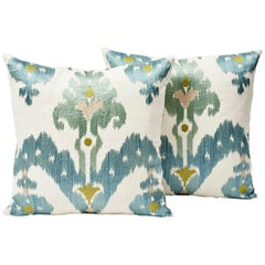 Pair of Schumacher Raja Embroidery Ikat Two-Sided Blue Green Silky Pillows