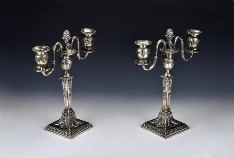 Austrian Pair of Schwarz and Steiner Vienna, Austria .800 Silver Candlesticks For Sale
