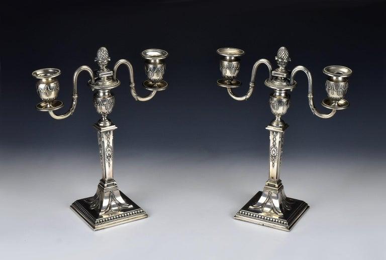 Pair of Schwarz and Steiner Vienna, Austria .800 Silver Candlesticks In Good Condition For Sale In Newport, NH