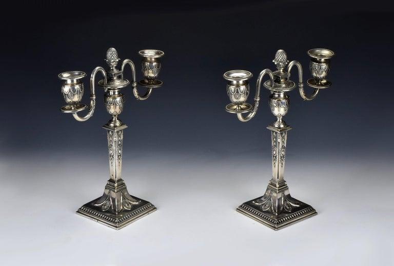 19th Century Pair of Schwarz and Steiner Vienna, Austria .800 Silver Candlesticks For Sale