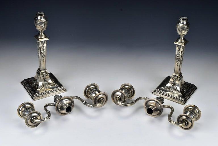Pair of Schwarz and Steiner Vienna, Austria .800 Silver Candlesticks For Sale 1