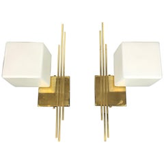 Pair of Sciolari Brass and Cube Milk Glass Wall Lights, Direction Hanging V or H