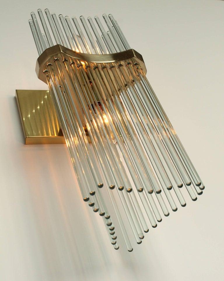 Pair of Sciolari Glass Rod & Brass Wall Sconces Two-Light Bulbs, Italia, 1970 For Sale 4