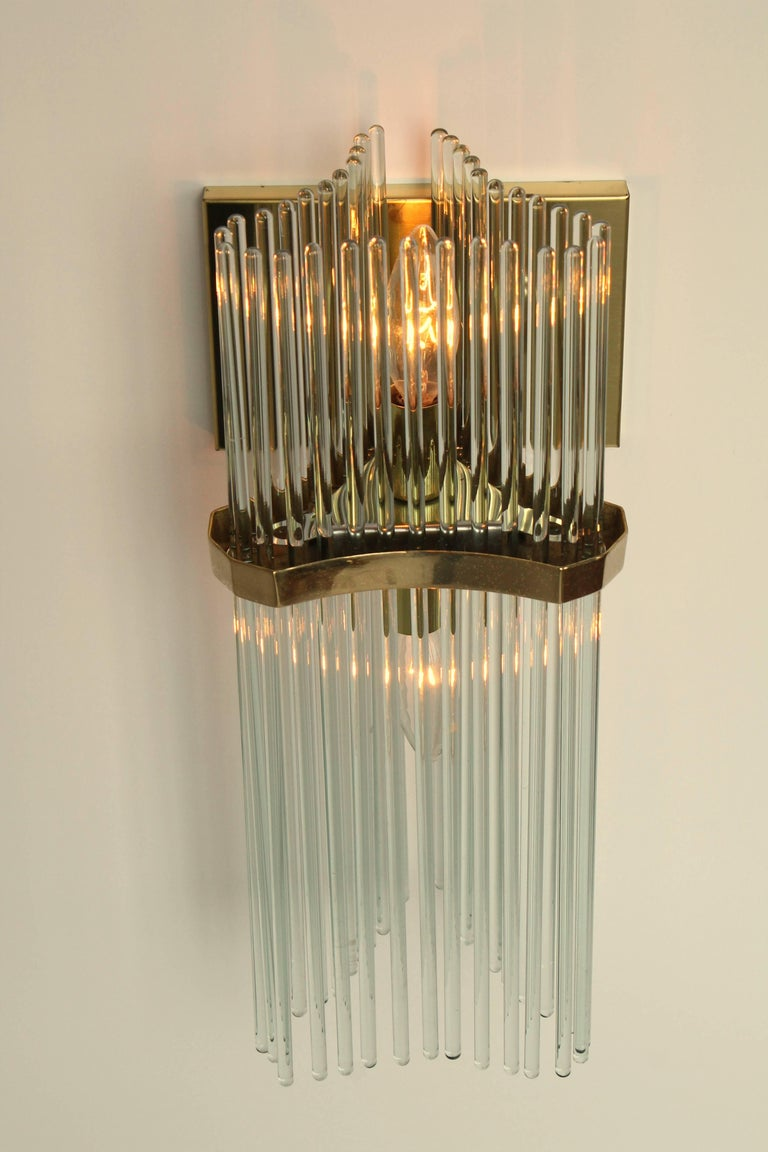 Late 20th Century Pair of Sciolari Glass Rod & Brass Wall Sconces Two-Light Bulbs, Italia, 1970 For Sale