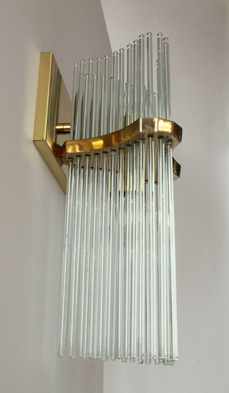 Pair of Sciolari Glass Rod & Brass Wall Sconces Two-Light Bulbs, Italia, 1970 For Sale 2