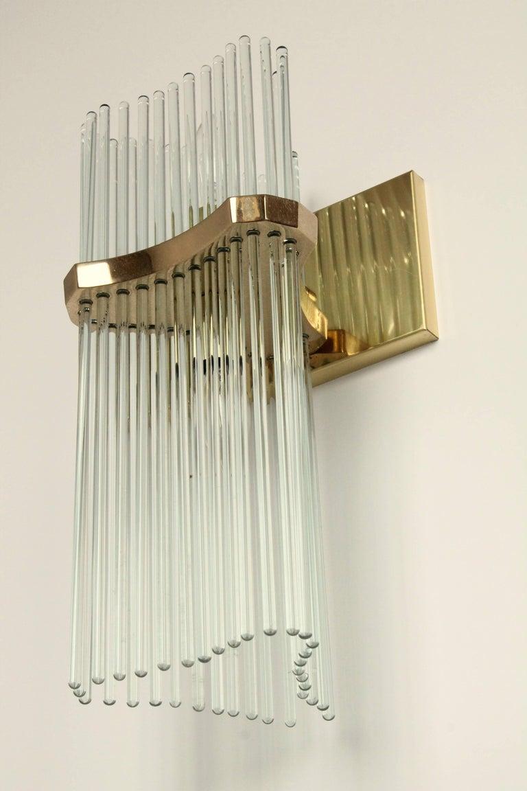Pair of Sciolari Glass Rod & Brass Wall Sconces Two-Light Bulbs, Italia, 1970 For Sale 3