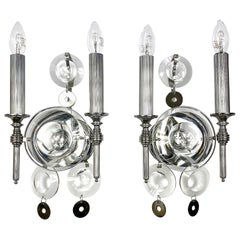 Pair of Sciolari Sconces Wall Lamp, Metal and Glass, Italy, 1970s