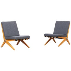 Pair of Scissor Lounge Chairs by Pierre Jeanneret for Knoll International, 1957