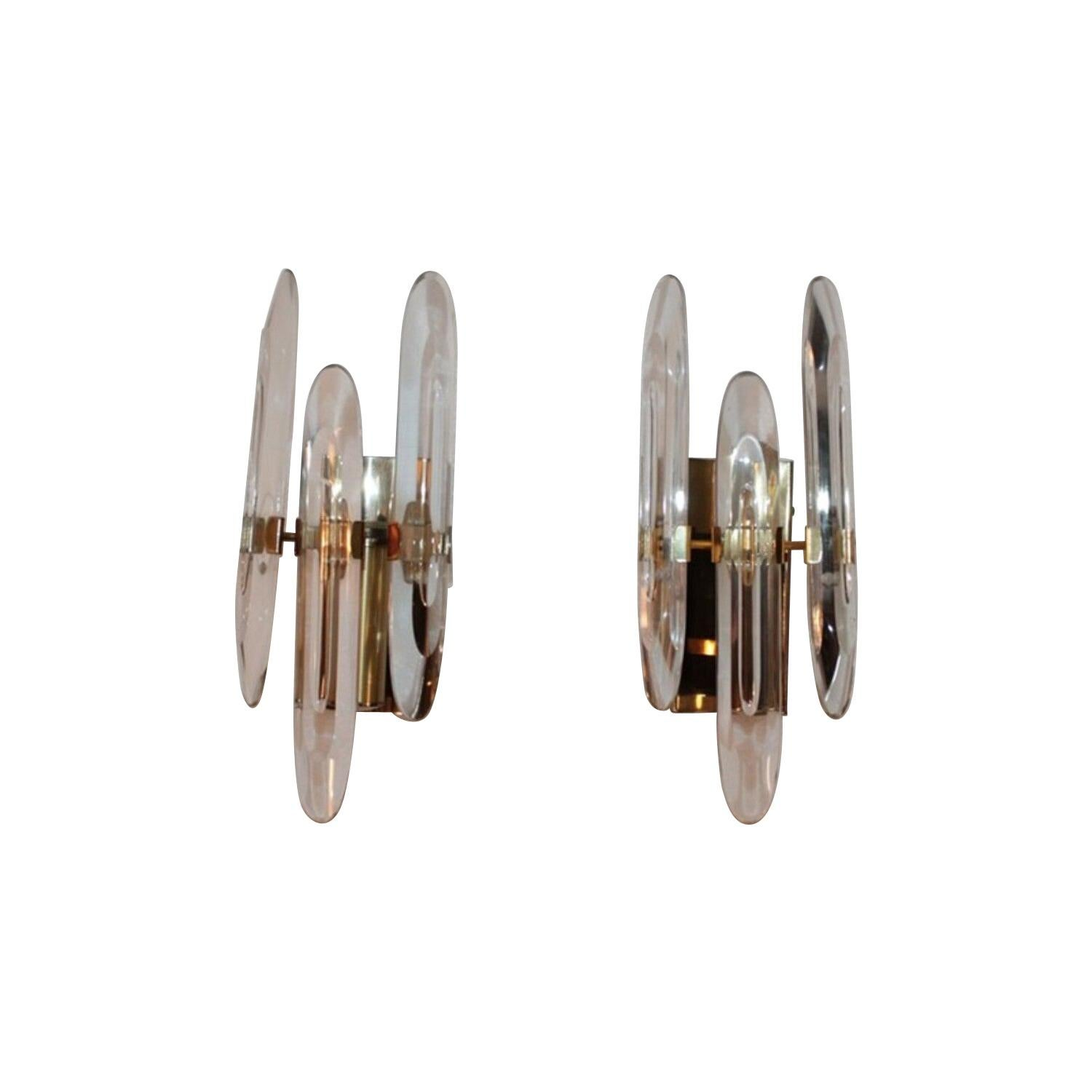 Pair of Sconces 1970s Brass and Glass by Sciolari