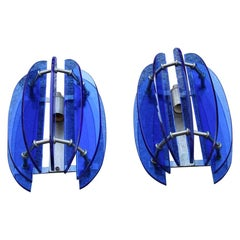 Pair of Sconces Blu Cobalt Midcentury Italian Design Veca Sculpture Murano Glass