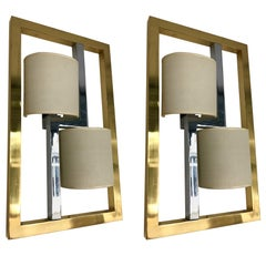Pair of Sconces Brass and Chrome by Banci, Italy, 1980s