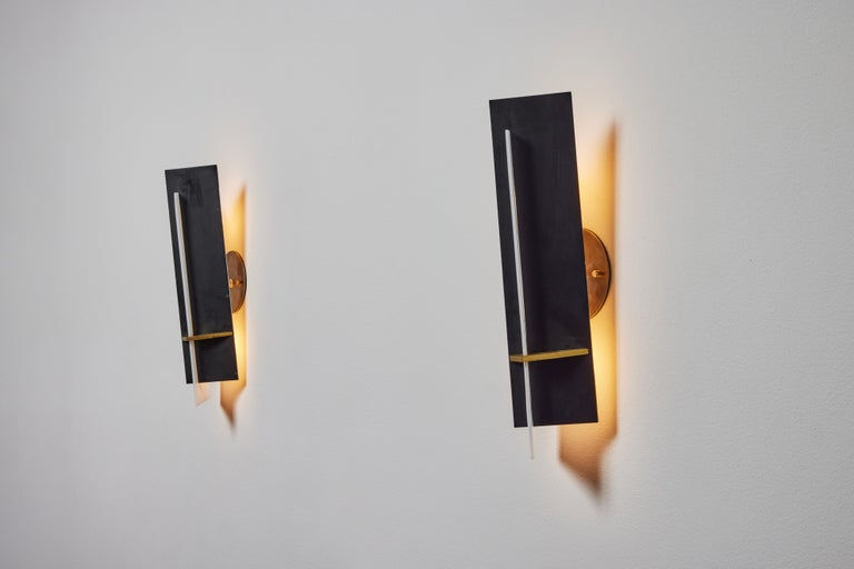 Lacquered Pair of Sconces by Angelo Brotto for Esperia For Sale