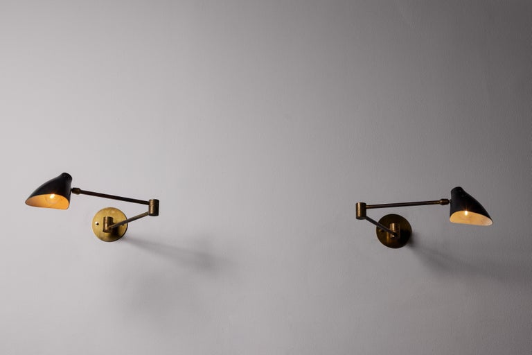 Mid-Century Modern Pair of Sconces by Angelo Lelli For Sale