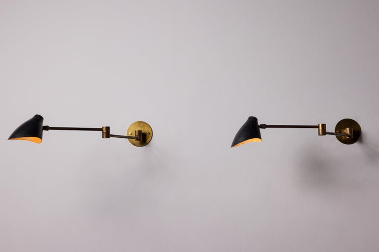Italian Pair of Sconces by Angelo Lelli For Sale