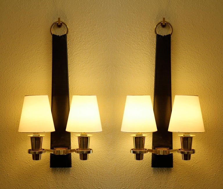 French Blasset & Guggiari Pair of Sconces France 1957 For Sale