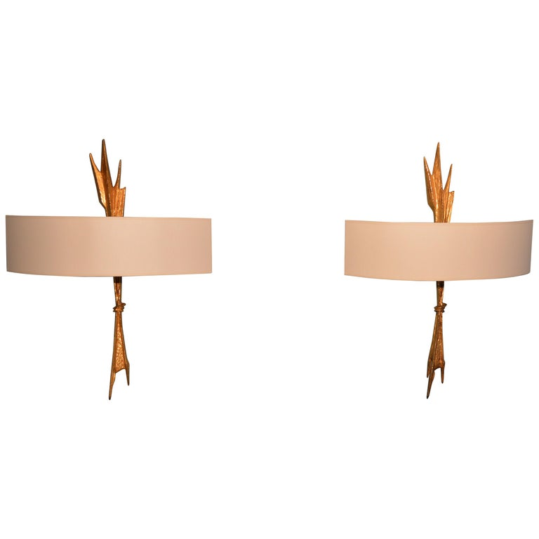 Pair of sconces by Félix Agostini For Sale