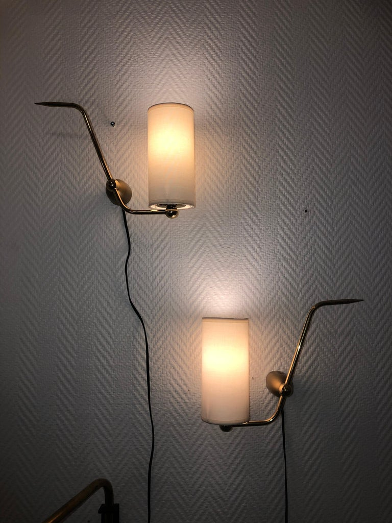 French Pair of Sconces by Maison Arlus, 1950 For Sale