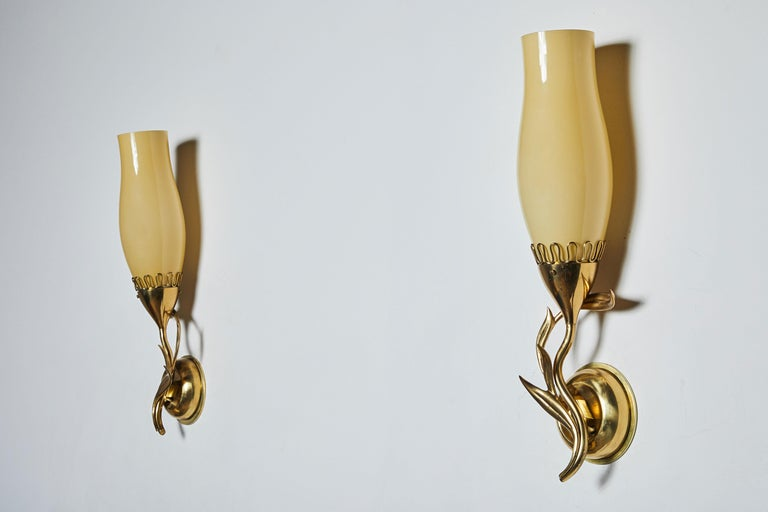 Glass Pair of Sconces by Paavo Tynell for Idman Oy For Sale