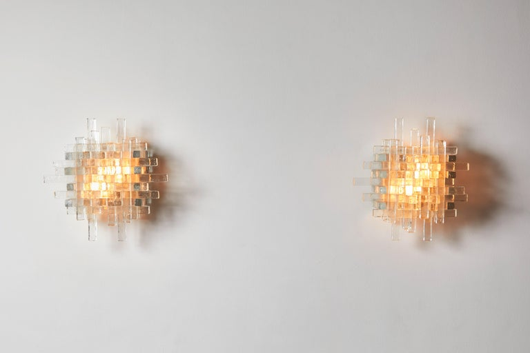 Mid-Century Modern Pair of Sconces by Poliarte For Sale