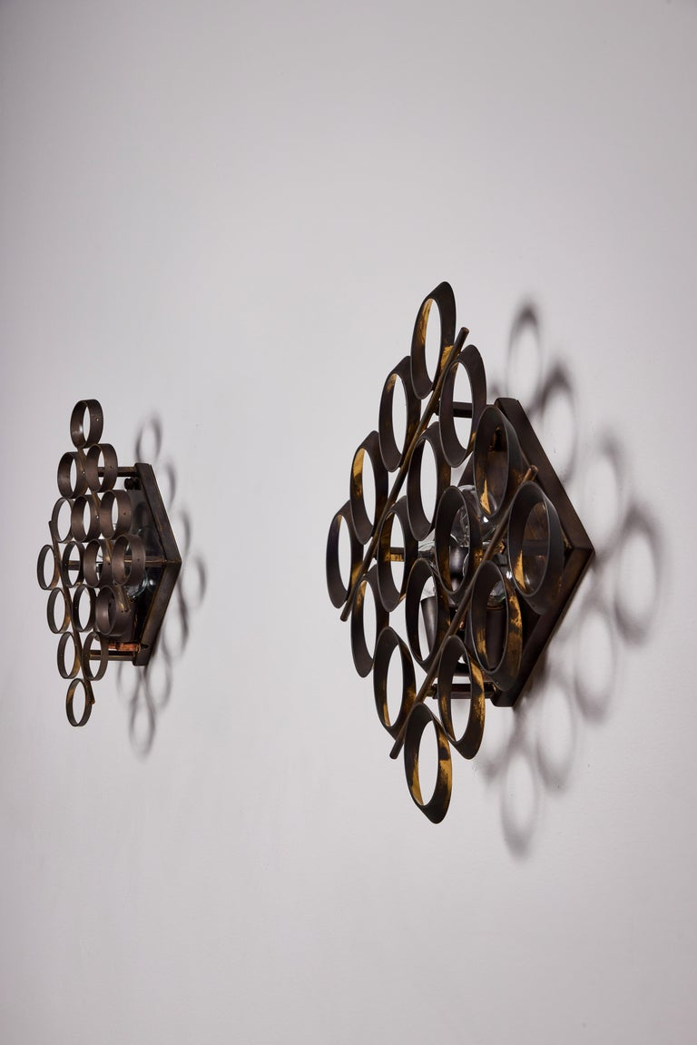 Brass Pair of Sconces by Sciolari For Sale
