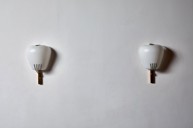 Brass Pair of Sconces by Stilnovo For Sale