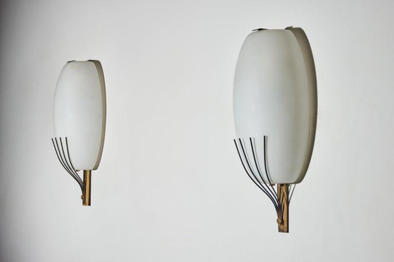 Brass Pair of Sconces by Stilnovo