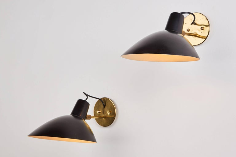 Mid-Century Modern Pair of Sconces by Vittoriano Vigano Sconces for Arteluce For Sale