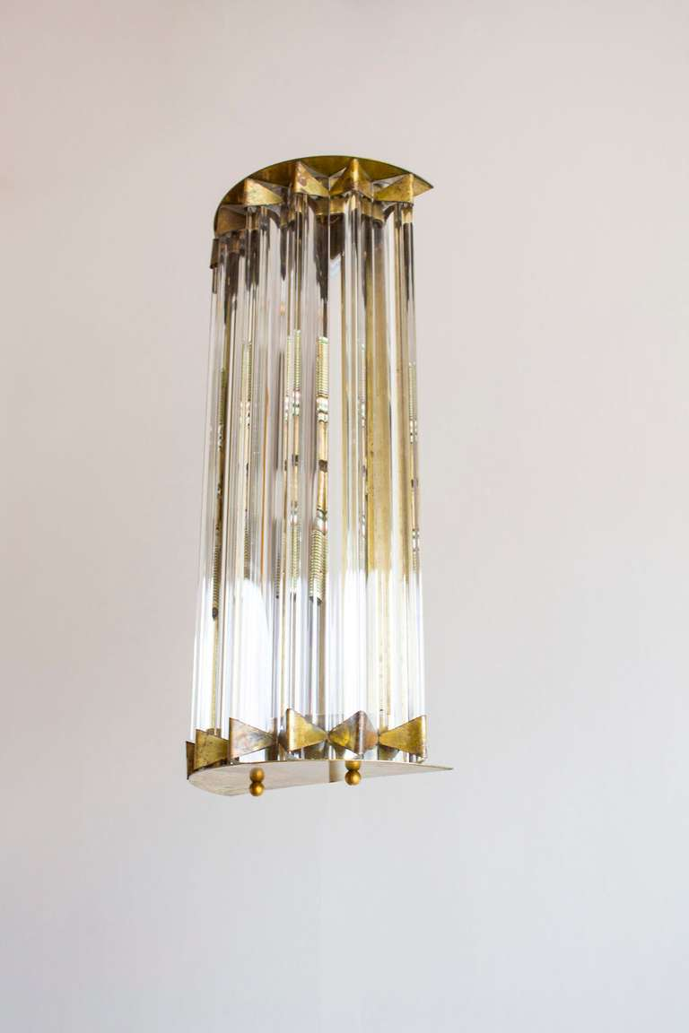 Art Deco Pair of Sconces Clear Color in Brass Frame Shaped as a Star, 1980s, Italy For Sale