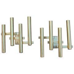Pair of Sconces Geometric Gold Brass Italian Design 1970s Modernist Shape